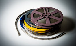 Pile of 8mm super8 movie reels with color effect Royalty Free Stock Photo