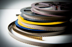 Pile of 8mm super8 movie reels with color effect and out of focus background stock photo