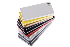 Pile of mobile phone. Heap of the different smartphones. Royalty Free Stock Photo
