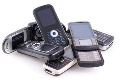 Pile of mobile phones. Royalty Free Stock Images