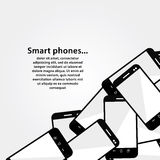 Pile of mobile phones. Modern design background wi Royalty Free Stock Images