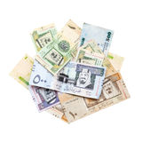 Pile of modern Saudi Arabia money isolated on white Royalty Free Stock Photography
