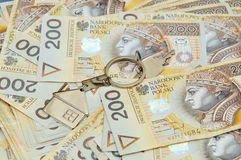 Pile of money and a key Stock Photography