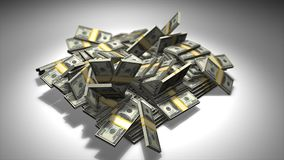 Pile of money smashed to the ground 3d animation. stock video