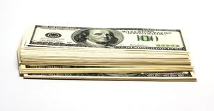 Pile of money. A stack of money on white background/pile of money/isolated objects, Finance Royalty Free Stock Image