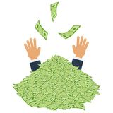 Pile of money two hand Royalty Free Stock Photo
