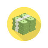 Pile of money vector icon. Big stacked pile of cash vector icon. Hundreds of dollars. Heap of cash, American dollars, pack, parcel, batch, flock, package modern Royalty Free Stock Image