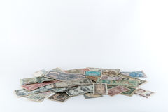 Pile of Money on White Background Royalty Free Stock Images