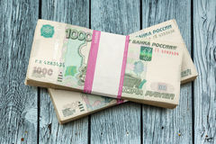 Pile of money in wrapper Royalty Free Stock Images