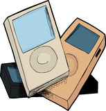 Pile of MP3 Players stock illustration