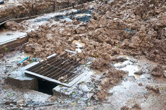Pile of mud at construction site Royalty Free Stock Photography