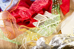 Pile of multi colored fabric gift ribbons Stock Photo