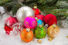 Pile of multicolored christmas balls Royalty Free Stock Images