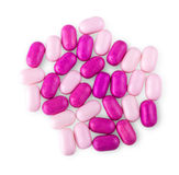Pile of multicolored pills on white background. Stock Images