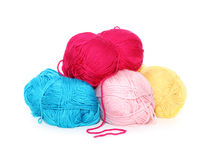 Pile of multicolored yarn  on white Stock Photo