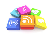 Pile of multimedia icons Royalty Free Stock Image