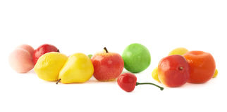 Pile of multiple artificial plastic fruits and Stock Photos
