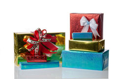Pile of multiple Christmas presents boxes Royalty Free Stock Image