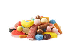 Pile of multiple different candies isolated Stock Images