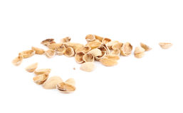 Pile of multiple pistachio shells isolated Stock Photography