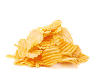 Pile of multiple potato chips isolated Royalty Free Stock Photo