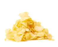 Pile of multiple potato chips isolated Stock Images