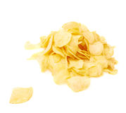 Pile of multiple potato chips isolated Stock Image