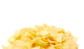 Pile of multiple potato chips isolated Royalty Free Stock Photography