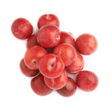 Pile of multiple red plums isolated Royalty Free Stock Photos