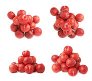 Pile of multiple red plums isolated Stock Photography