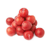 Pile of multiple red plums  Royalty Free Stock Images