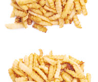 Pile of multiple wavy french fries isolated Royalty Free Stock Image
