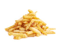 Pile of multiple wavy french fries isolated Stock Photos