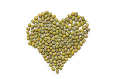 Pile of mung beans on white. Stock Image