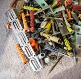 Pile of nails, screws, anchors and other building Royalty Free Stock Photos