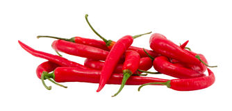 Pile natural red chilli peppers paprika on white Stock Image
