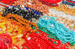 Pile of necklaces, bracelets and jewelry Stock Photos
