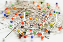 Pile of needle pins. Multiple colors Stock Photography