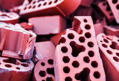 Pile of new but beaten silicate bricks Royalty Free Stock Photography