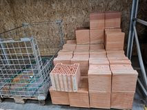 Pile of new bricks for construction. Group, material. Pile of new bricks for construction. Group, material in a store stock photo