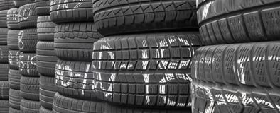Pile of new car tire. In the shop. Ready to be used. Ideal for concepts and backgrounds royalty free stock images