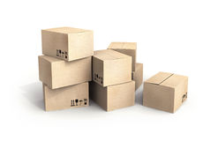 Pile of new cardboard boxes on white Royalty Free Stock Photo
