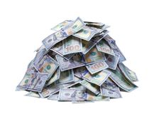 Pile of New Hundred Dollar Bills. Small Pile of Hundred Dollar Bills Isolated on a White Background royalty free stock images