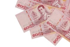 Pile of new one hundred Thai Baht banknotes. stock photo