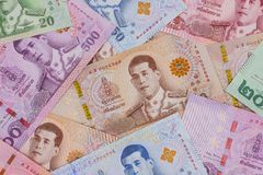 Pile of new Thai Baht banknotes. stock images
