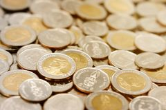 Pile of new Thai Baht coins. stock photos
