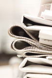 Pile of newspapers Royalty Free Stock Photography