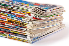 A pile of newspapers isolated. On a white background stock images