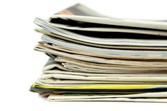 Pile of newspapers and magazine Stock Image