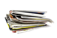 Pile of newspapers and magazines Stock Photo